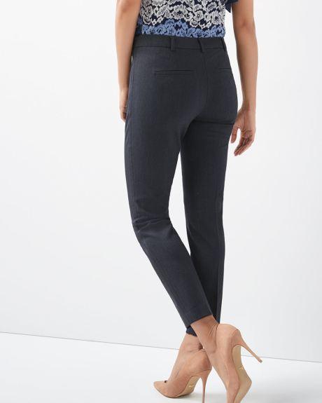 Pantalon coupe signature jambe troite extensible marine deux tons longueur cheville rw co - Magie corps coupe en deux ...