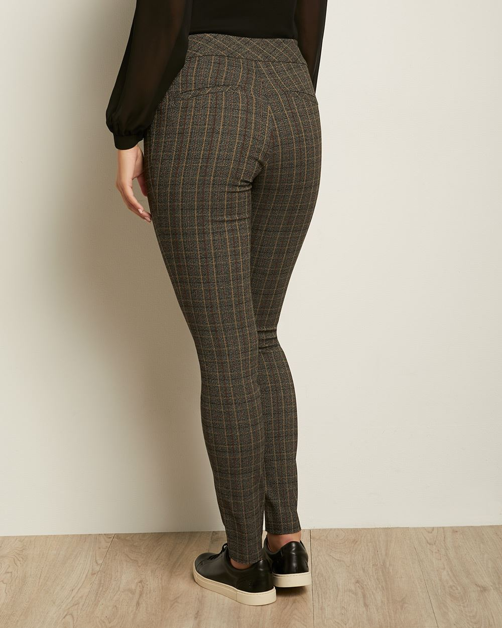 C&G Grey and Beige Check City Legging Pant - 31.5''