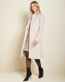 Belted wool-blend wrap coat