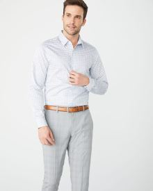 Slim Fit blue geo dot dress shirt