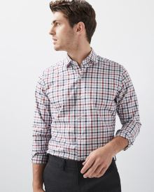 Tailored fit plaid dress shirt