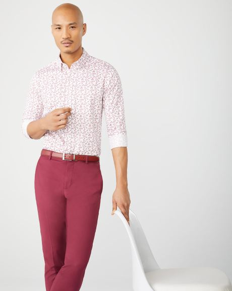 Tailored Fit berry floral dress shirt