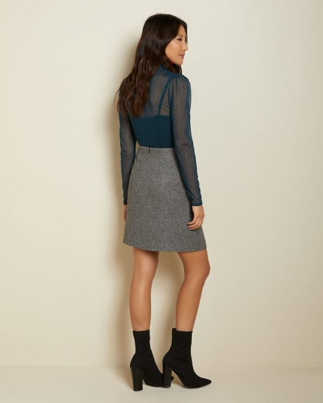 High-waist grey tweed faux wrap skirt