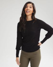 Puffy Sleeve Textured Stitch Sweater