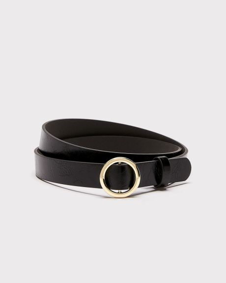 Faux-leather belt with slide buckle