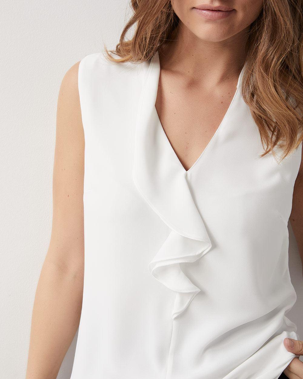 4de8f26daf5e3 Sleeveless Ruffled front silky crepe blouse