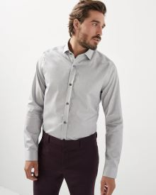 Tailored fit heather grey dress shirt - Tall