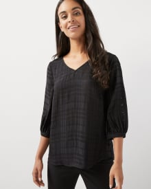 Plaid popover blouse