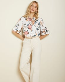 Frilled sleeve button-down blouse