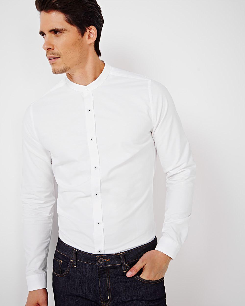Slim fit mandarin collar dress shirt rw co for Dress shirt collar fit