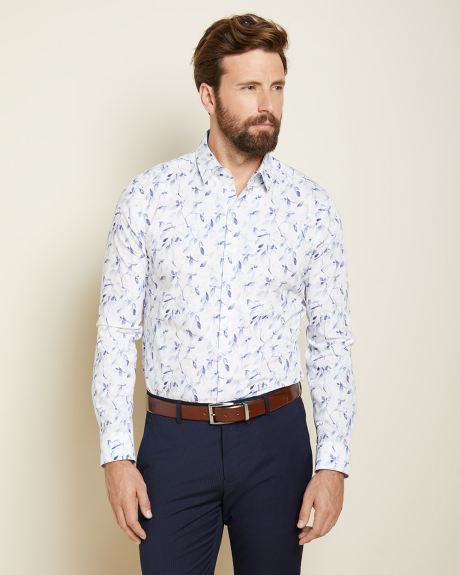 Tailored Fit pastel blue foliage Dress Shirt