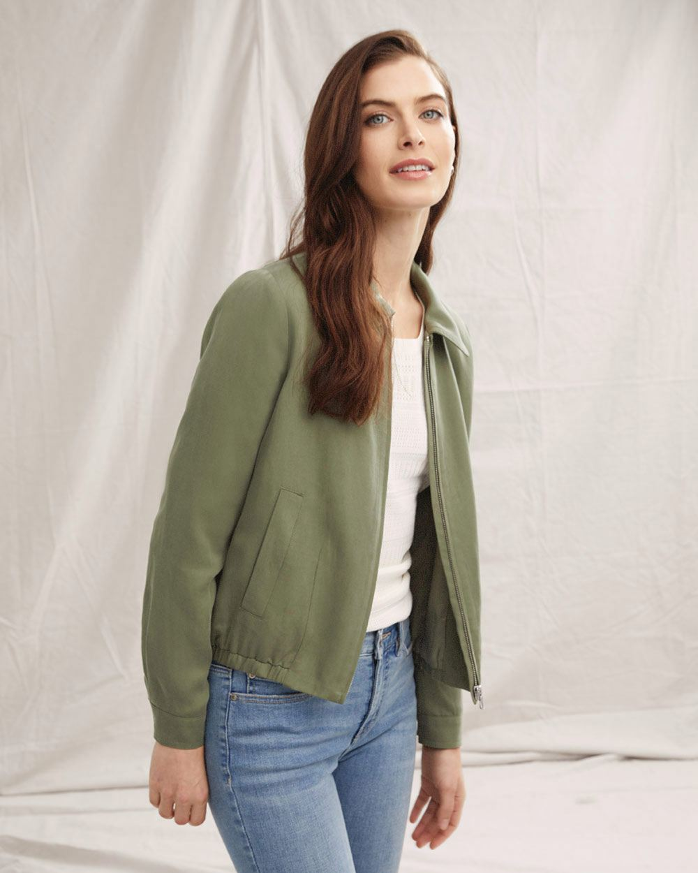 TENCEL (TM) Bomber Jacket with Collar