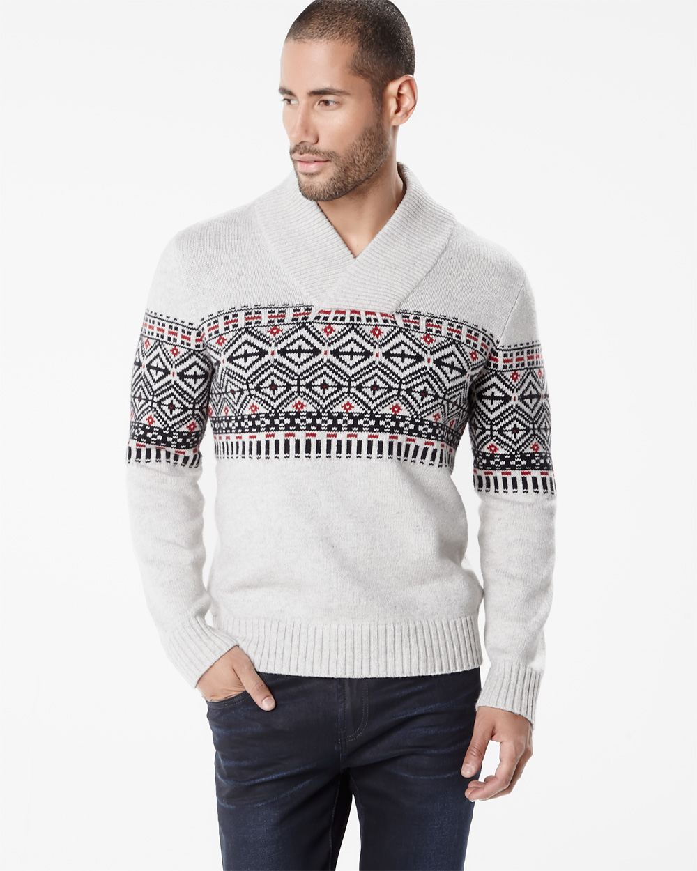 Fair isle shawl collar sweater | RW&CO.