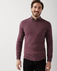 Crew-neck sweater with stitched elbow