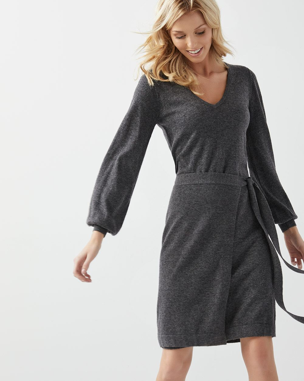 Ginia Cashmere Gowns Wrap Gown: Cashmere-like Faux-wrap Sweater Dress