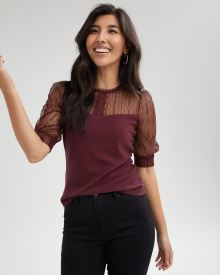 Lace-Trimmed Elbow-Sleeve Blouse