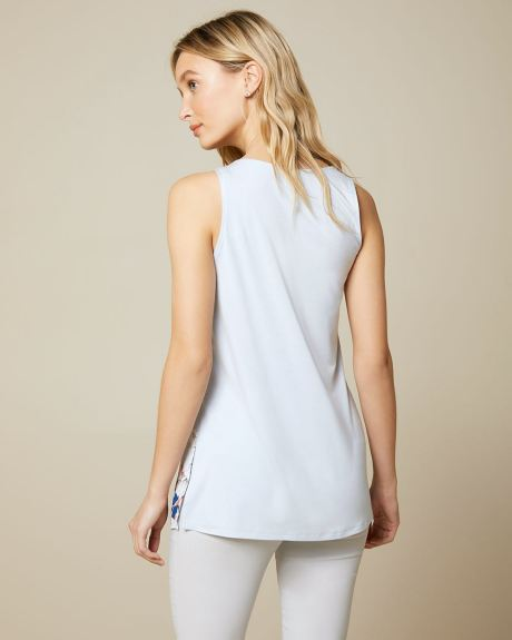 C&G Mixed media Sleeveless tunic t-shirt