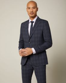 Slim fit Navy check wool and silk blend suit blazer