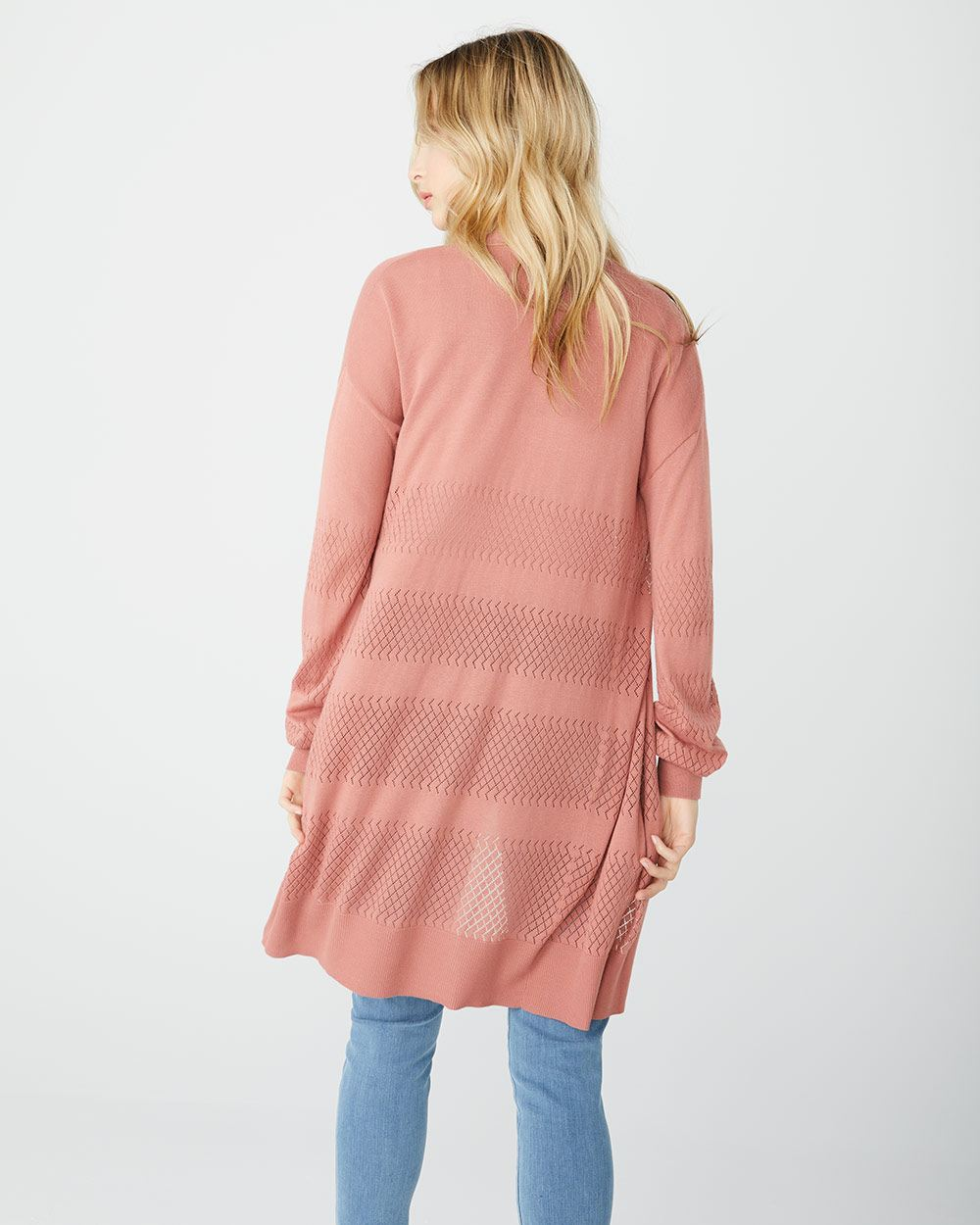 Lighweight cashmere-like duster cardigan