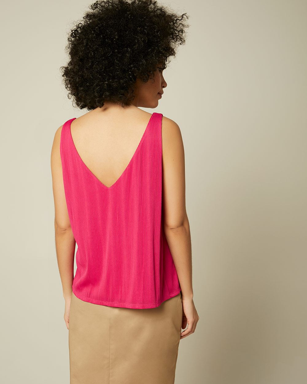 Pleated V-neck cami