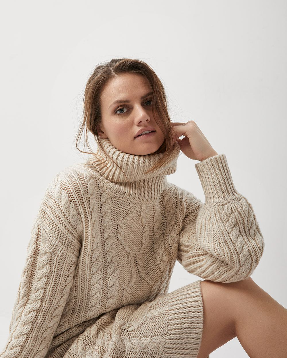 7eca5a13465 Cable knit sweater dress