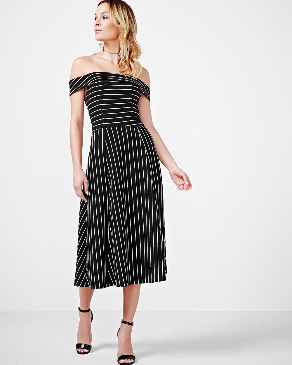 ABS by Allen Schwartz Striped Off-the-shoulder Midi Dress | RW&CO.