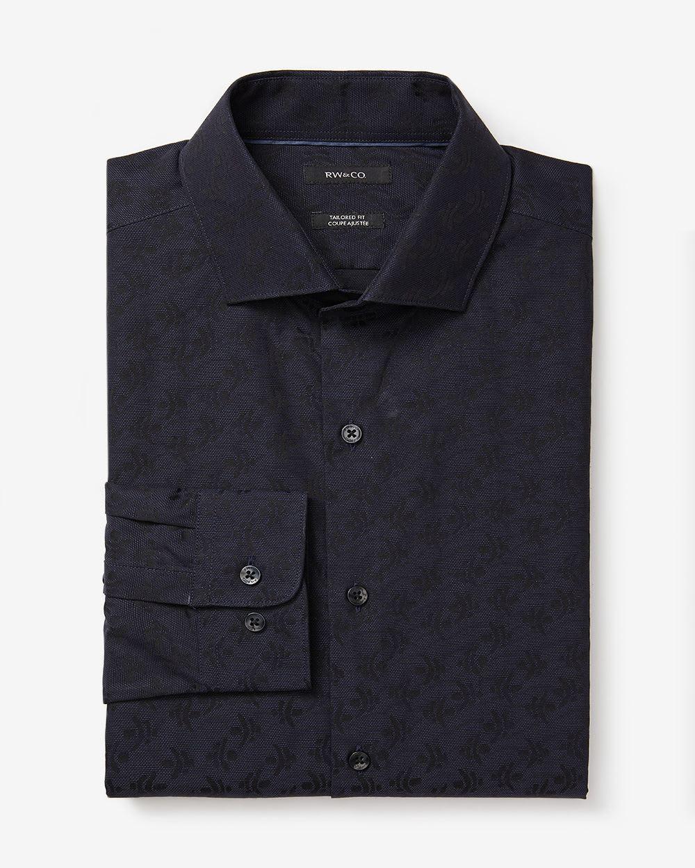 Tailored fit two tone jacquard dress shirt rw co for Tailored fit dress shirts