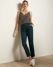 Teal Flannel Signature Fit Slim Leg Ankle Pant