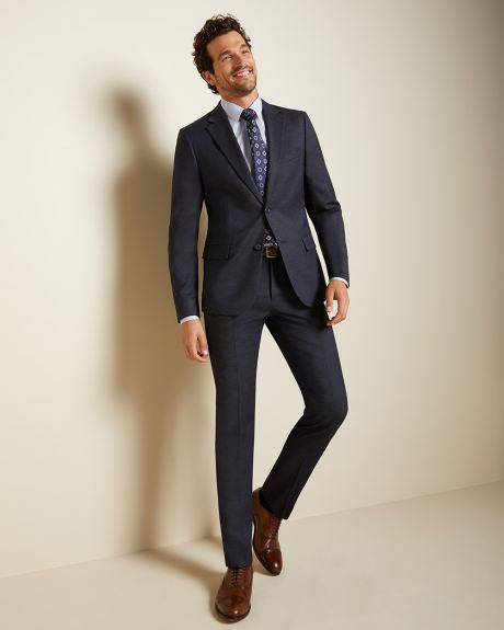 Slim Fit textured navy Traveler suit Blazer