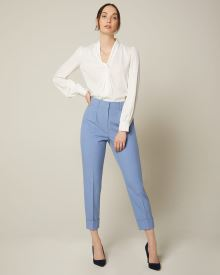 High-waist tapered leg stretch blue ankle pant