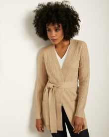 Rib Knit Mid-Length Belted Cardigan