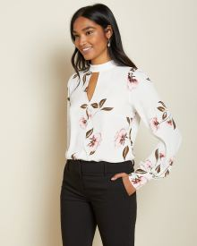 Long sleeve mock-neck Floral blouse