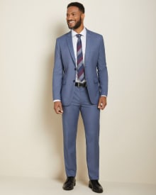 Tailored fit steel blue suit pant