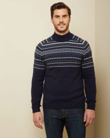 Fair isle Jacquard Mock-neck sweater