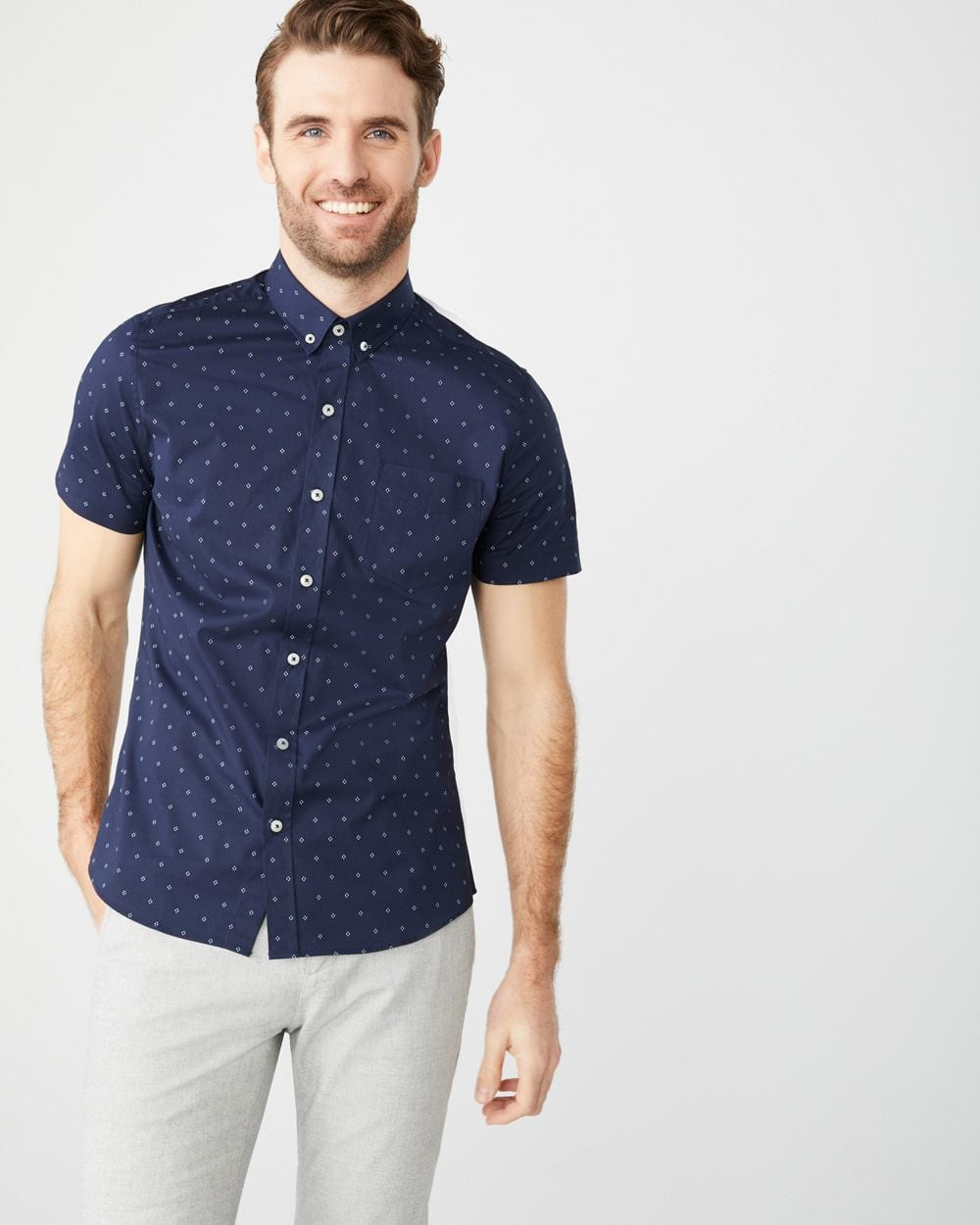 a52b9f7035 Slim Fit Short Sleeve stretch geo print Shirt