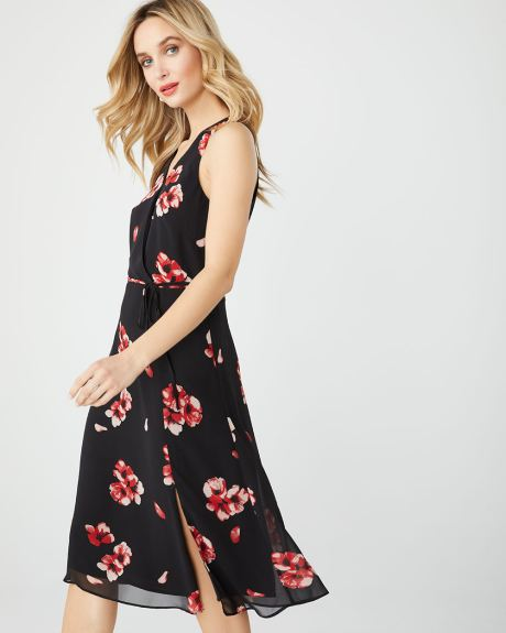 Chiffon Fit and Flare faux-wrap dress