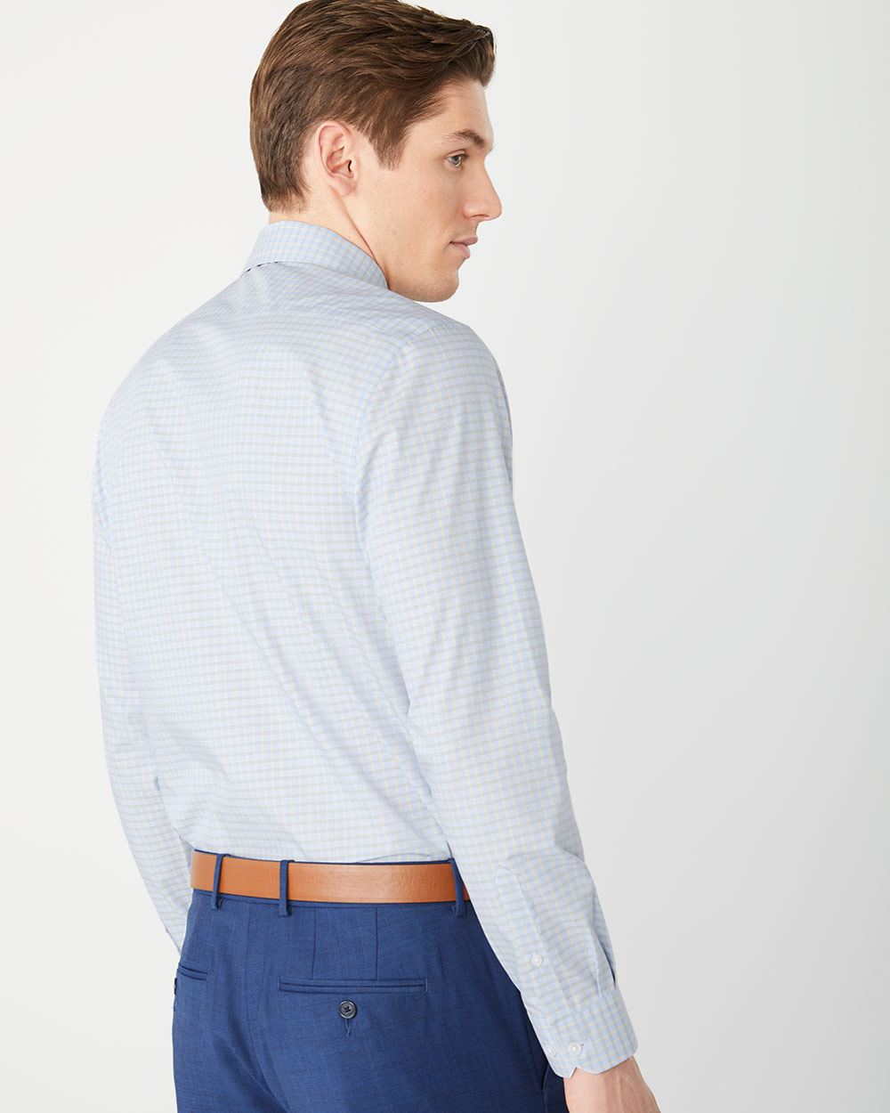 Athletic Fit light blue check Dress Shirt