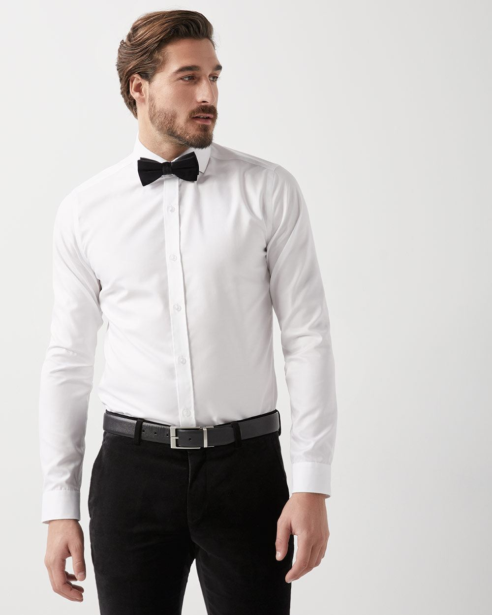 Slim fit white dress shirt with wide spread collar