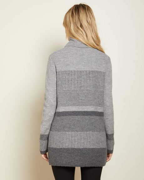 C&G Colour block cowl-neck tunic sweater