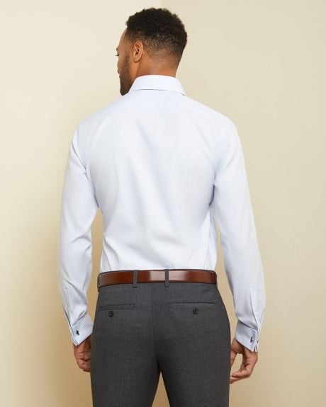 Tailored fit pastel blue dress shirt with French cuff