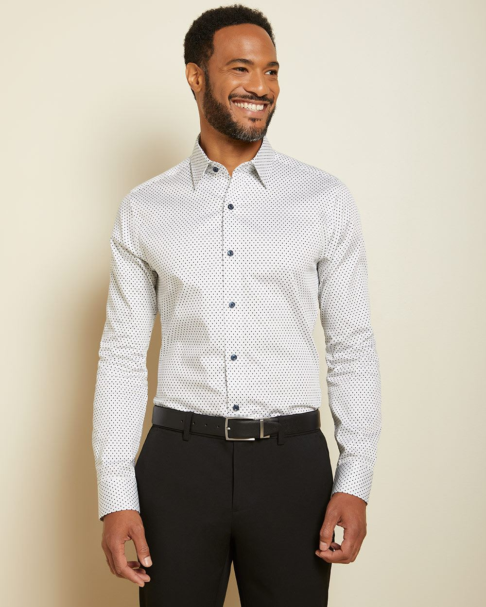 Slim Fit grid and triangle dress shirt