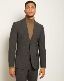 Slim Fit Checkered Grey Traveler Suit Blazer