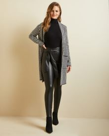 Belted High-waist faux leather legging pant