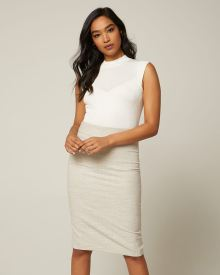 Slub High-waist pencil skirt with slit