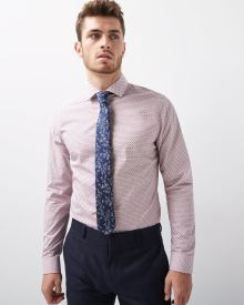 Slim Fit Triangle Print Dress Shirt