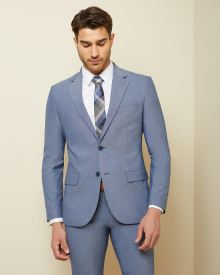 Slim fit two-tone chambray suit blazer