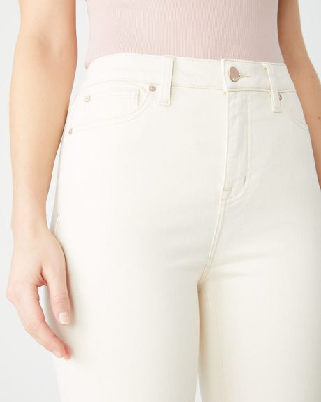 High-rise Girlfriend jeans in off-white denim