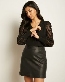 V-Neck Crepe Blouse with Long Lace Sleeve