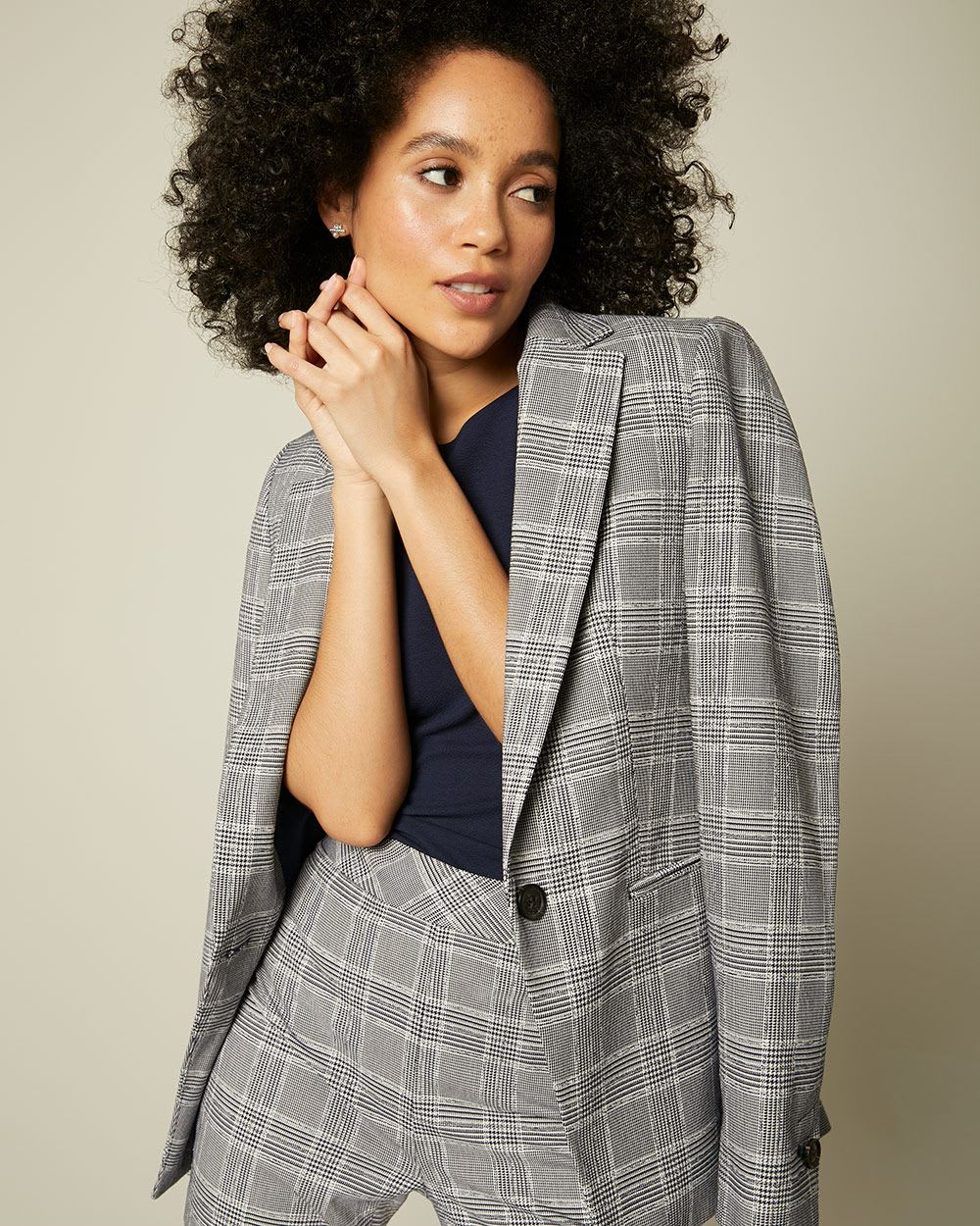 Long Fitted Navy Plaid Blazer
