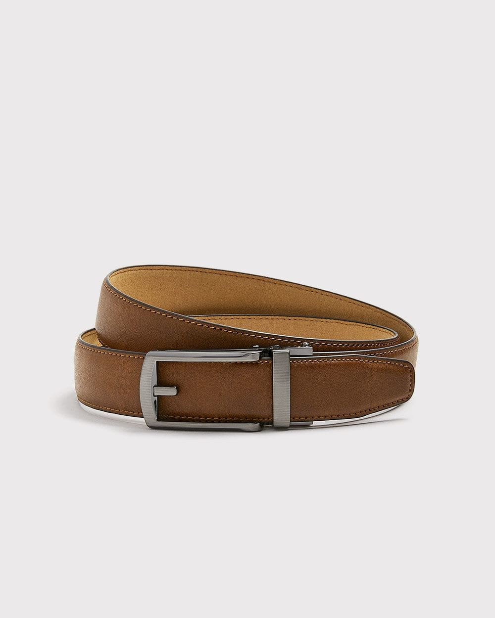 Tan leather belt with automatic buckle